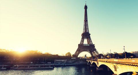 Paris, Eifelturm, Abenddämmerung, Fluss, Seine